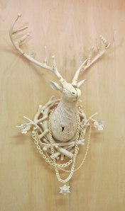 40x20x13 inches, Glazed porcelain, taxidermy fawn, cast plastic, mixed media